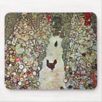 Garden Path w Chickens, Gustav Klimt, Art Nouveau Mouse Pad