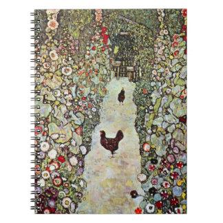 Garden Path w Chickens, Gustav Klimt, Art Nouveau Notebook