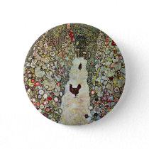 Garden Path w Chickens, Gustav Klimt, Art Nouveau Pinback Button