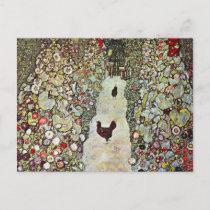 Garden Path w Chickens, Gustav Klimt, Art Nouveau Postcard