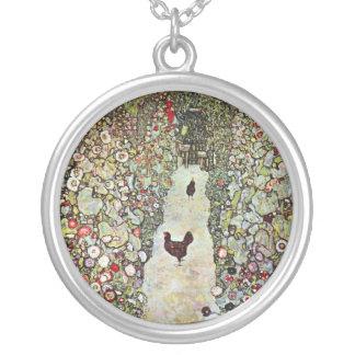 Garden Path w Chickens, Gustav Klimt, Art Nouveau Silver Plated Necklace