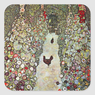 Garden Path w Chickens, Gustav Klimt, Art Nouveau Square Sticker
