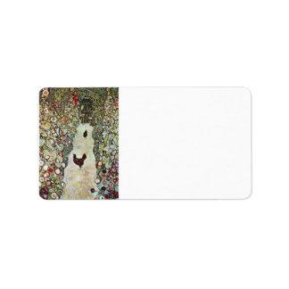 Garden Path with Chickens by Gustav Klimt Address Label