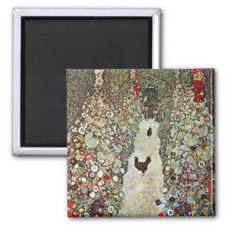 Garden Path with Chickens, Klimt, Art Nouveau 2 Inch Square Magnet
