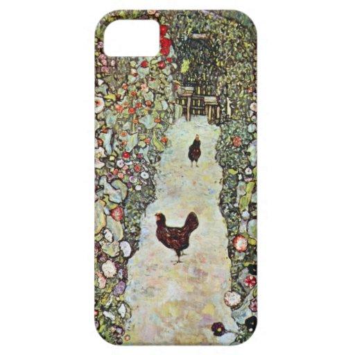 Garden Path with Chickens, Klimt, Art Nouveau iPhone 5 Case