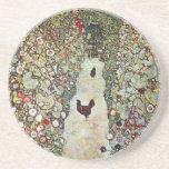 Garden Path with Chickens, Klimt, Art Nouveau Beverage Coasters