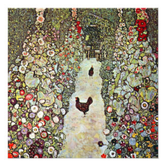 Garden Path with Chickens Klimt Art Nouveau Personalized Invite