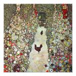 Garden Path with Chickens, Klimt, Art Nouveau Personalized Invite