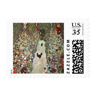 Garden Path with Chickens, Klimt, Art Nouveau Postage Stamp