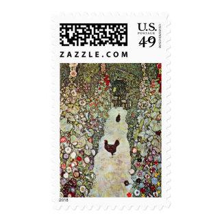 Garden Path with Chickens, Klimt, Art Nouveau Stamp