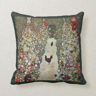Garden Path with Chickens, Klimt, Art Nouveau Throw Pillow