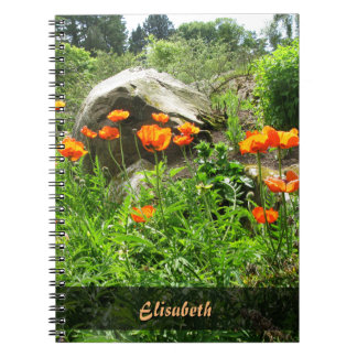 Garden Photo Lush Park Spring Poppies any Name Notebook