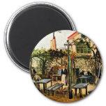 Garden Place On Montmartre (La Guinguette), 2 Inch Round Magnet