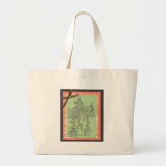 Garden Plants House Scene Art Design Outdoors Large Tote Bag