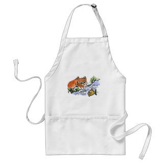Garden Pond and Curious Kitten Adult Apron