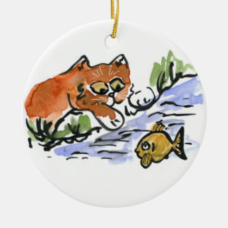 Garden Pond and Curious Kitten Ceramic Ornament