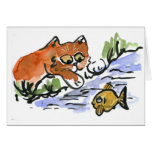Garden Pond and Curious Kitten Greeting Card