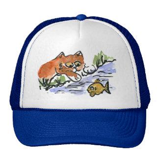 Garden Pond and Curious Kitten Mesh Hat