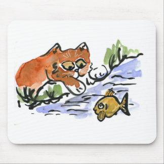 Garden Pond and Curious Kitten Mouse Pad