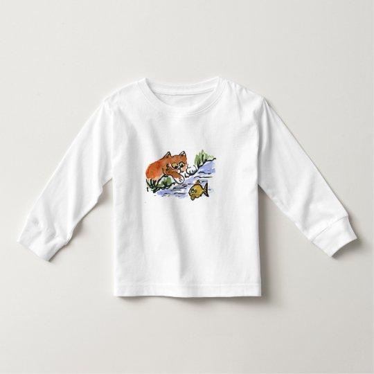 Garden Pond and Curious Kitten Toddler T-shirt