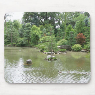 Garden Pond With Swimming Ducks Mouse Pad