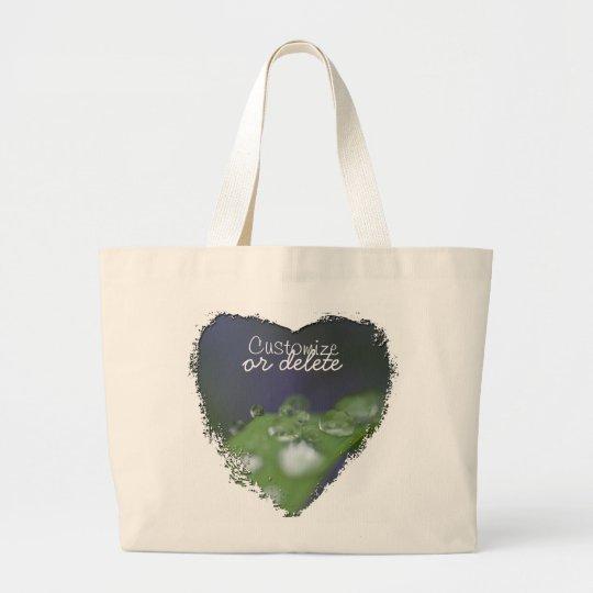 Garden Raindrops; Customizable Large Tote Bag