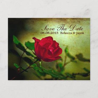 garden red rose steampunk gothic wedding announcement postcard