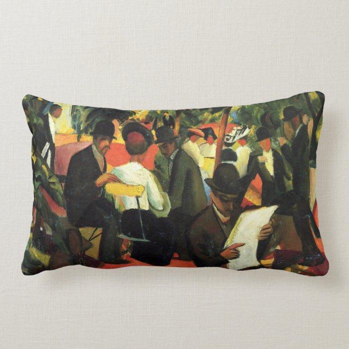 Garden Restaurant by August Macke Lumbar Pillow