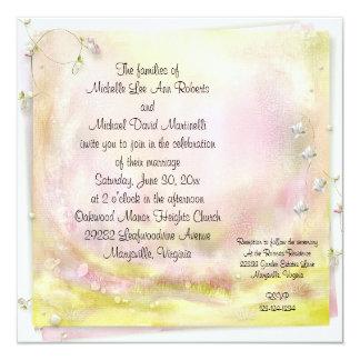"""Garden Romance Square Wedding Invitation 5.25"""" Square Invitation Card"""