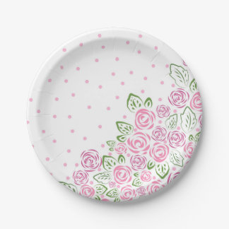 Garden Rose and Dots Blush Paper Plate
