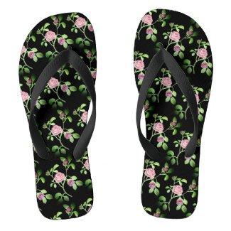 Garden Rose on Black Shower Shoes FlipFlops