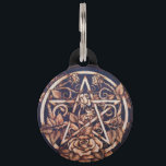 "Garden Rose Pentacle Pet Tag - Large<br><div class=""desc"">Image of an original,  one of a kind pyrography (woodburning) piece by Michelle Greenwood.  http://greenwoodcreationsstudios.com/</div>"