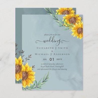 Garden Sage Sunflowers Rustic Boho Wedding