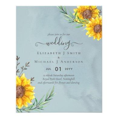 Garden Sage Sunflowers Rustic Boho Wedding Flyer
