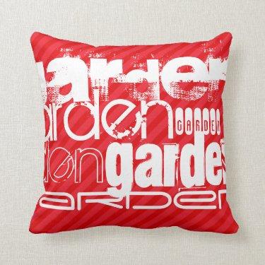 Garden; Scarlet Red Stripes Pillows
