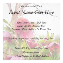 Garden Scene - Hellebores And Old Oak Personalized Invites