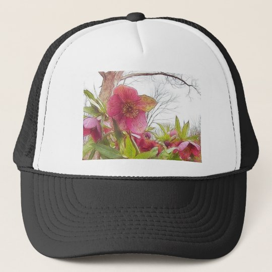 Garden Scene - Hellebores And Old Oak Trucker Hat