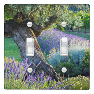 Garden scenic with flowers, France Light Switch Cover