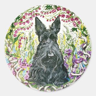 Garden Scottie Round Sticker