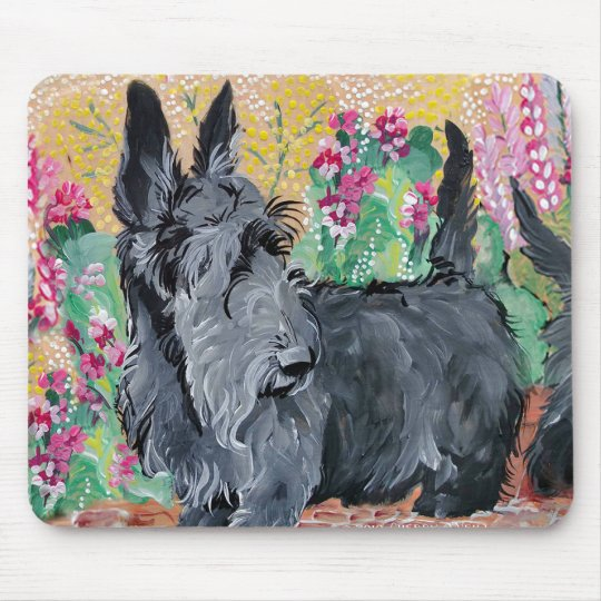 Garden Scottish Terriers Mouse Pad