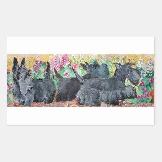 Garden Scottish Terriers Rectangle Sticker