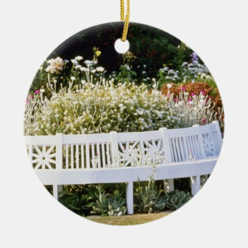 Garden Seat With Goat's Beard Stachys flowers Double-Sided Ceramic Round Christmas Ornament