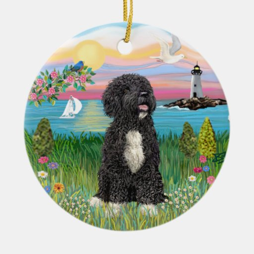 Garden-Shore - Portuguese Water Dog #5-(bw) Double-Sided Ceramic Round Christmas Ornament