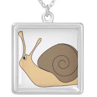 Garden Snail Square Pendant Necklace