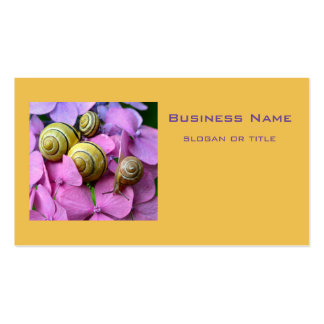 Garden Snails on Pink Flowers Business Card