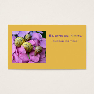 Garden Snails on Pink Flowers Business Card