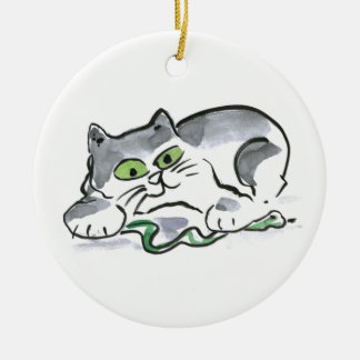 Garden Snake and the Curious Kitten Ceramic Ornament