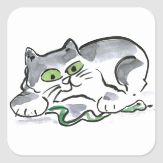 Garden Snake and the Curious Kitten Square Sticker