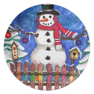 Garden Snowman Melamine Plate