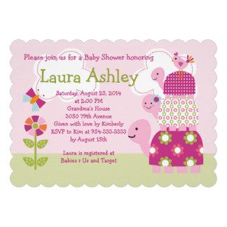 Garden Stacked Turtles Baby Shower Invitation